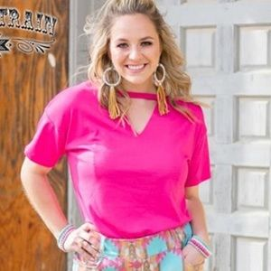 Hot Pink V Neck Key Hole Shirt